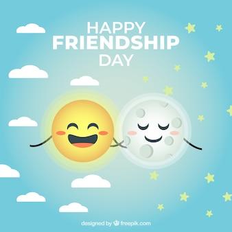 Fond de l'amitié avec joli soleil et lune