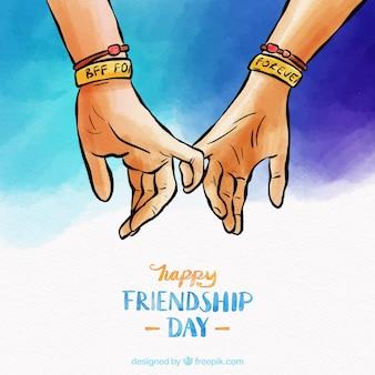 Fond de l'amitié avec les mains