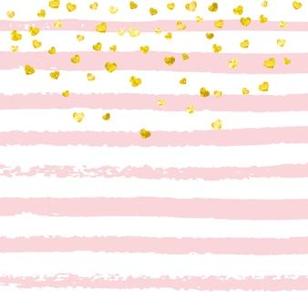 Fond d'amour. cadre de mères à rayures. poussière d'étoile de mariage jaune. peinture de chambre de bébé rose