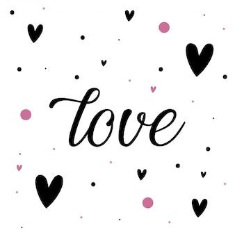 Fond d'amour avec des coeurs et des points