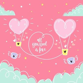 Fond d'amour dessiné à la main avec une couleur pastel