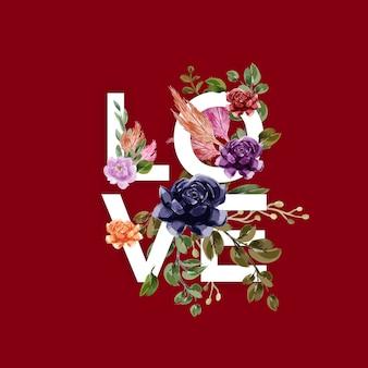 Fond d'amour avec des fleurs et des feuilles