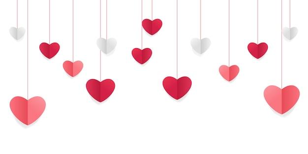 Fond d'amour avec des formes de coeur et des nuages