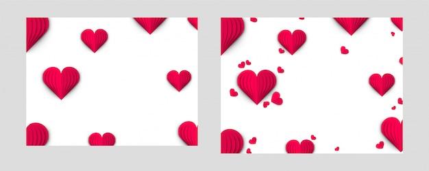 Fond d'amour orné de coeurs en papier origami.