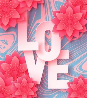 Fond d'amour de papier avec des fleurs