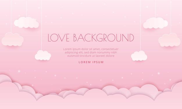 Fond d'amour romantique avec coeur 3d réaliste peut être utilisé pour la bannière de la saint-valentin