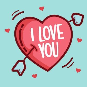 Fond d'amour avec une typographie dessinée à la main