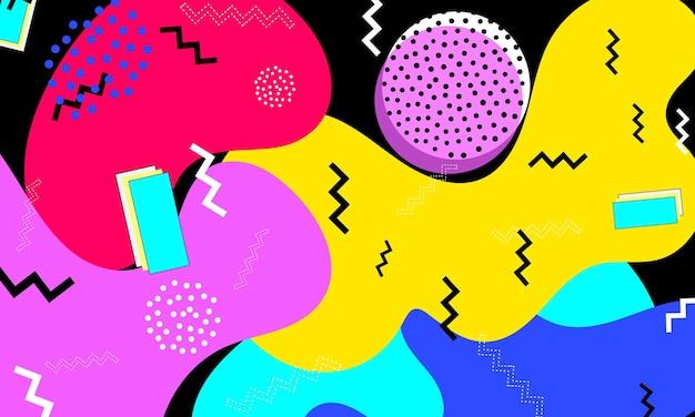 Fond amusant des années 90. minimaliste à la mode. motifs pop art. abstrait amusant coloré. éléments à la mode. style hipster années 80-90. modèle de memphis.