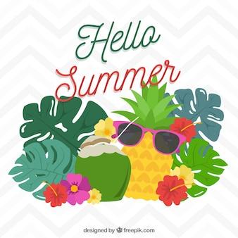 Fond amusant avec des fruits d'été