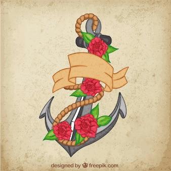 Fond d'ancre avec des roses et une corde