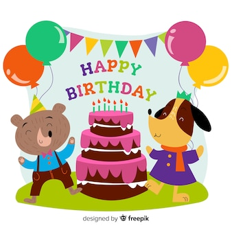 Fond animal anniversaire dessiné à la main