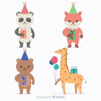 Fond animal d'anniversaire plat