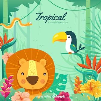 Fond d'animaux et de végétation tropicaux