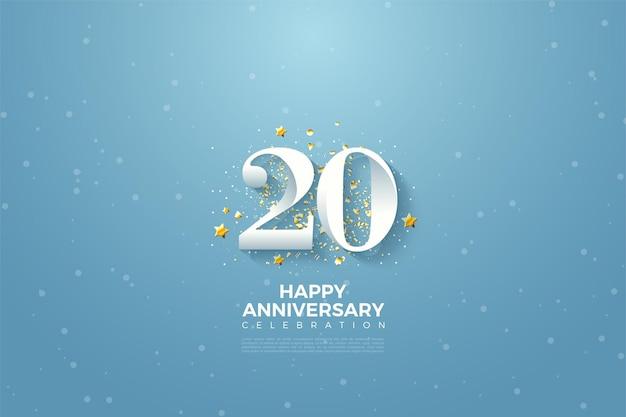 Fond anivversaire 20ème avec chiffres et fond bleu marbré
