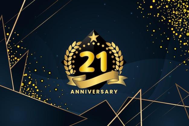 Fond D'anniversaire 21 Or Vecteur gratuit