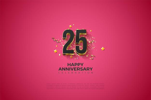 Fond d'anniversaire 25 avec numéros 3d et étoiles d'or