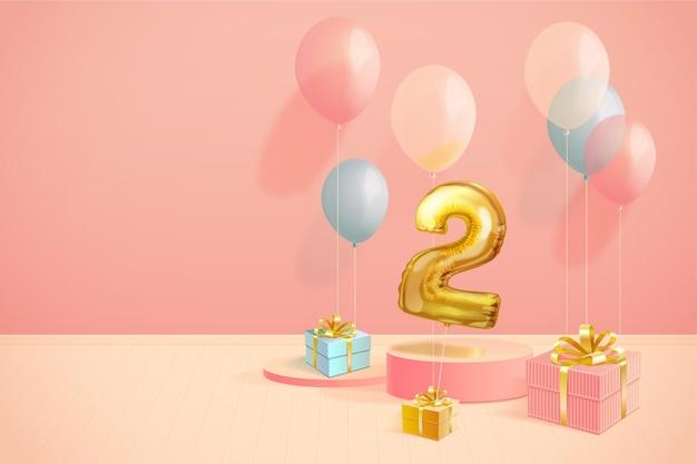 Fond d'anniversaire 3d réaliste