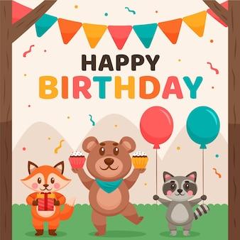 Fond d'anniversaire avec des animaux et des ballons