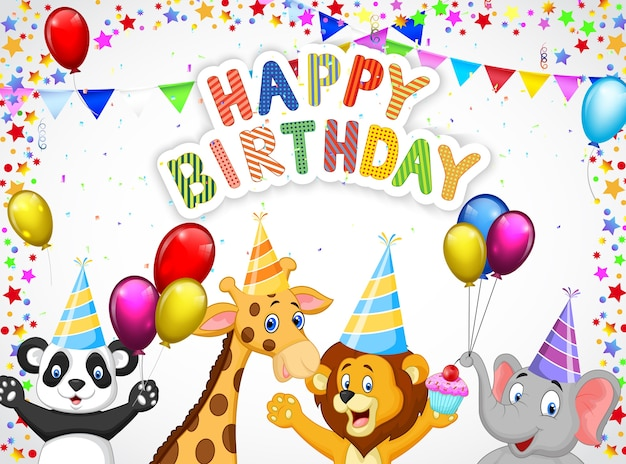 Fond d'anniversaire avec des animaux heureux