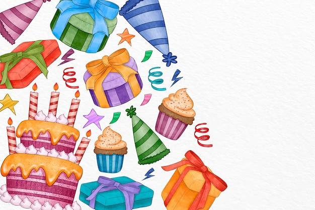 Fond d'anniversaire aquarelle avec gâteau et cadeaux