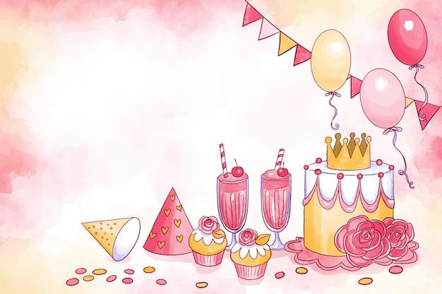 Fond d'anniversaire aquarelle