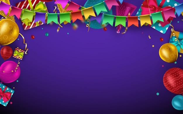 Fond d'anniversaire avec des ballons colorés et place pour votre texte