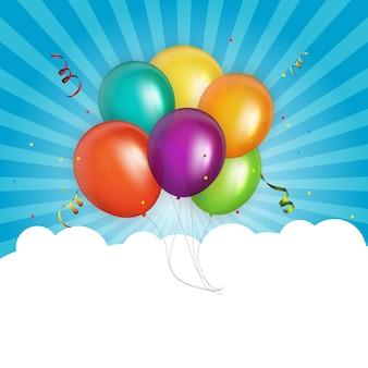 Fond d'anniversaire ballons couleur brillant