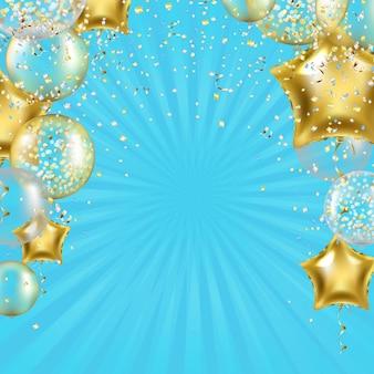 Fond d'anniversaire avec ballons étoiles dorées et sunburst