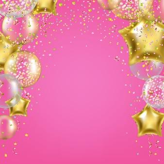 Fond d'anniversaire avec ballons étoiles dorées
