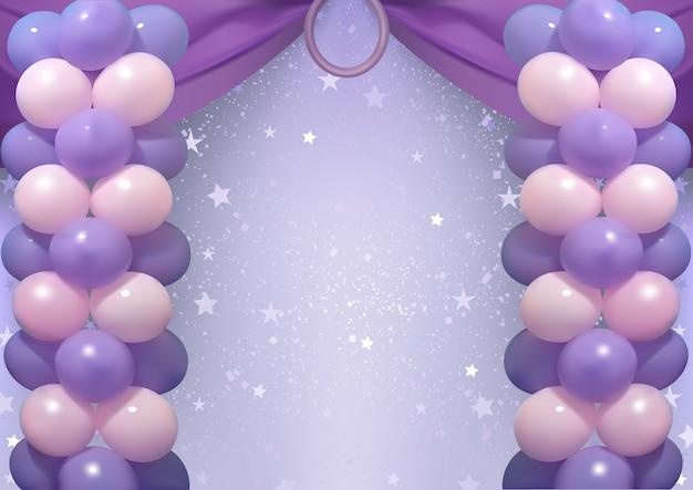 Fond d'anniversaire avec des ballons de fête pourpres et roses