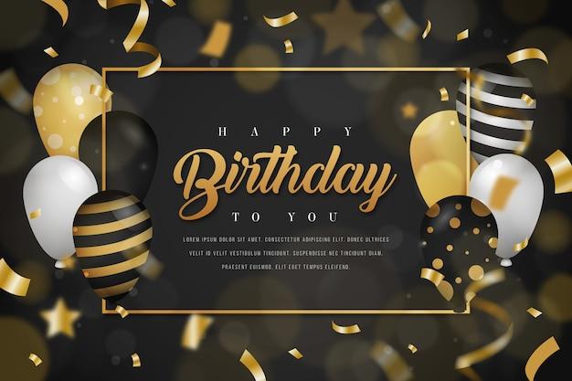 Fond d'anniversaire avec des ballons d'or et des confettis