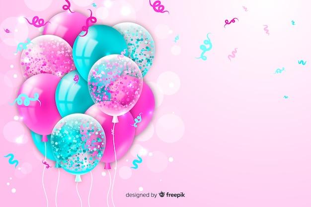 Fond d'anniversaire avec des ballons réalistes