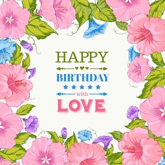 Fond d'anniversaire avec cadre floral