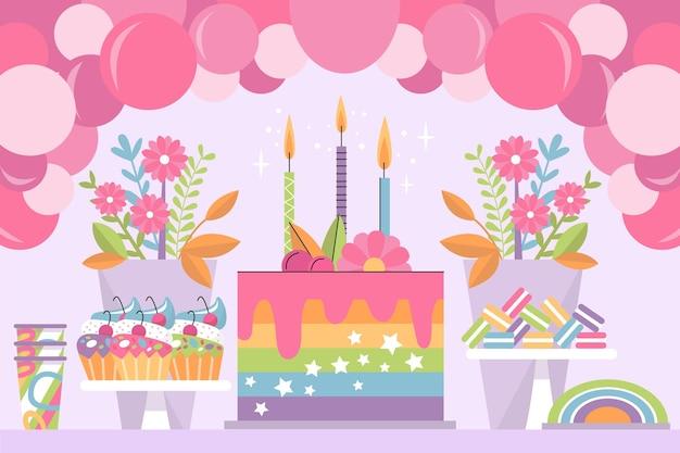 Fond D'anniversaire Coloré Vecteur Premium