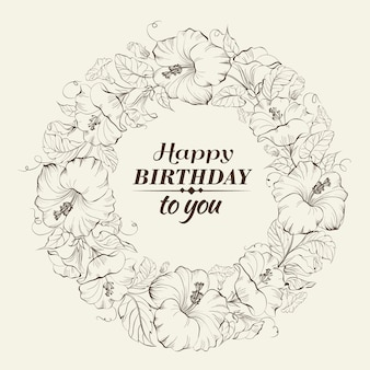 Fond d'anniversaire avec couronne florale
