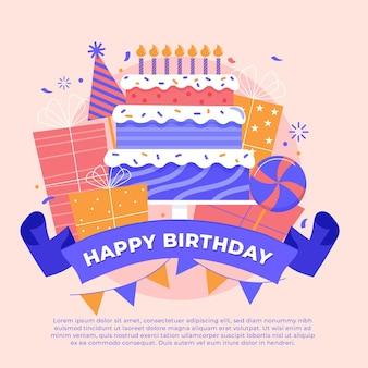 Fond d'anniversaire créatif illustré