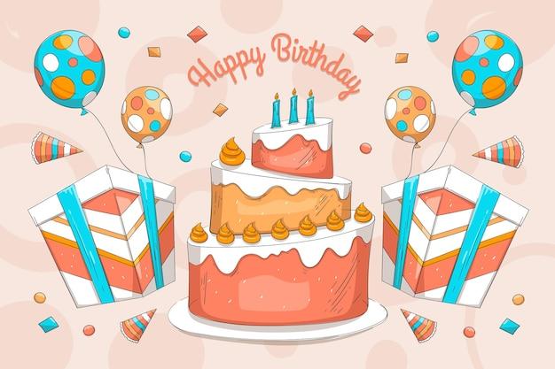 Fond d'anniversaire design dessiné à la main