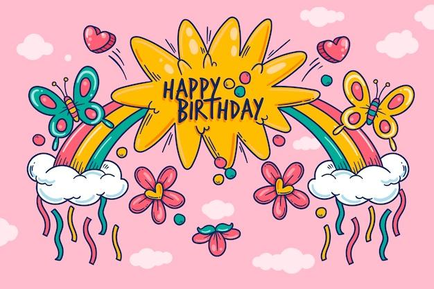 Fond d'anniversaire dessiné à la main avec arc-en-ciel