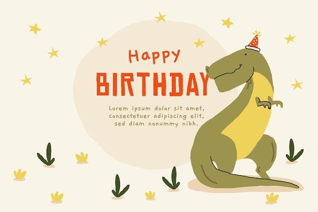 Fond d'anniversaire dessiné à la main avec un crocodile
