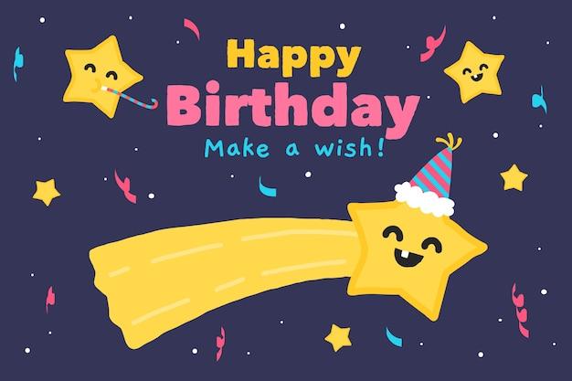 Fond d'anniversaire dessiné à la main avec une étoile qui souhaite