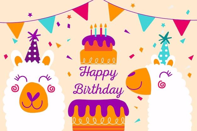Fond d'anniversaire dessiné main avec gâteau et animaux
