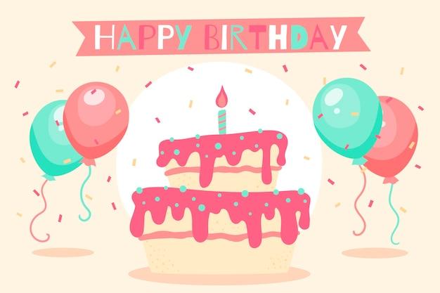 Fond d'anniversaire dessiné main avec gâteau et ballons