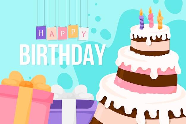 Fond d'anniversaire dessiné à la main avec un gâteau