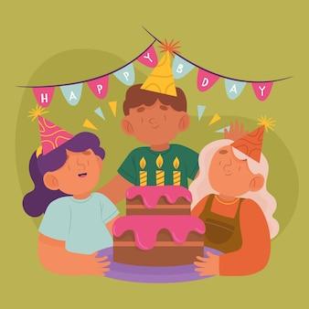 Fond d'anniversaire dessiné à la main
