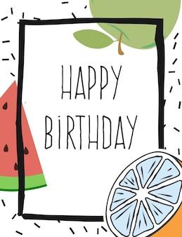 Fond d'anniversaire avec des fruits