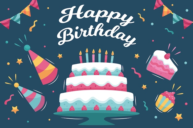 Fond d'anniversaire avec gâteau et chapeaux