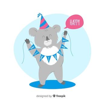 Fond d'anniversaire koala dessiné à la main