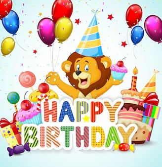 Fond d'anniversaire avec lion de dessin animé heureux