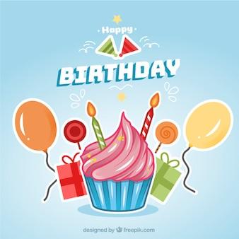 Fond d'anniversaire avec le petit gâteau