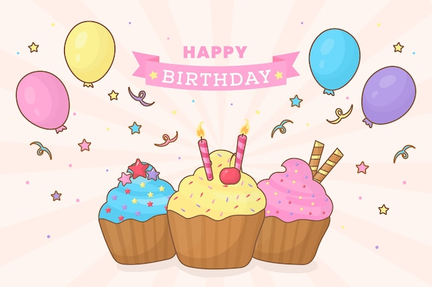 Fond d'anniversaire avec petits gâteaux et ballons